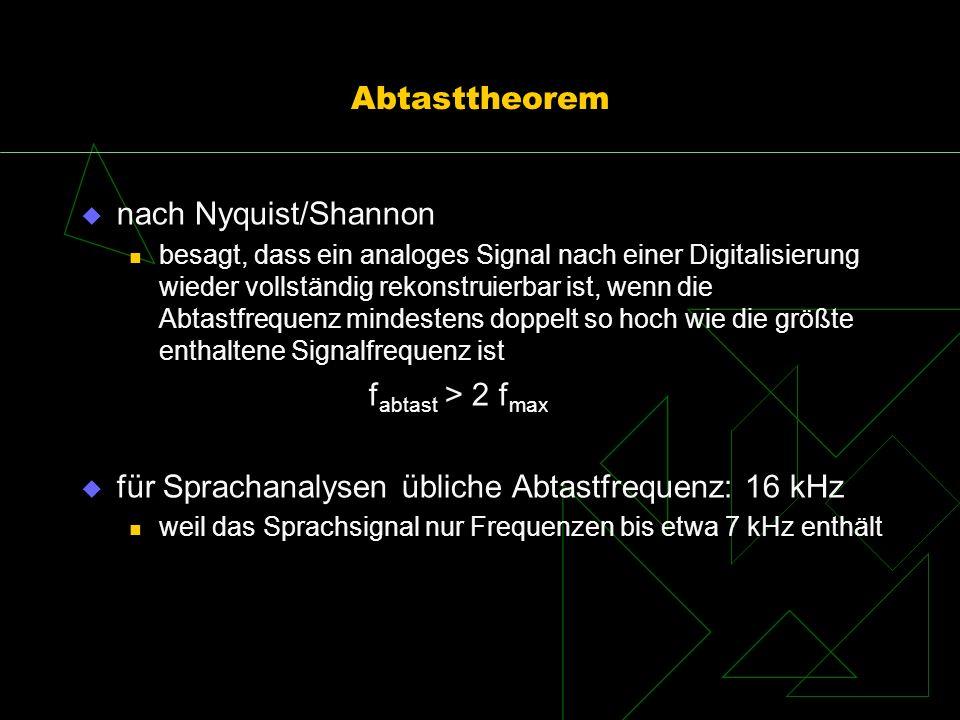 für Sprachanalysen übliche Abtastfrequenz: 16 kHz