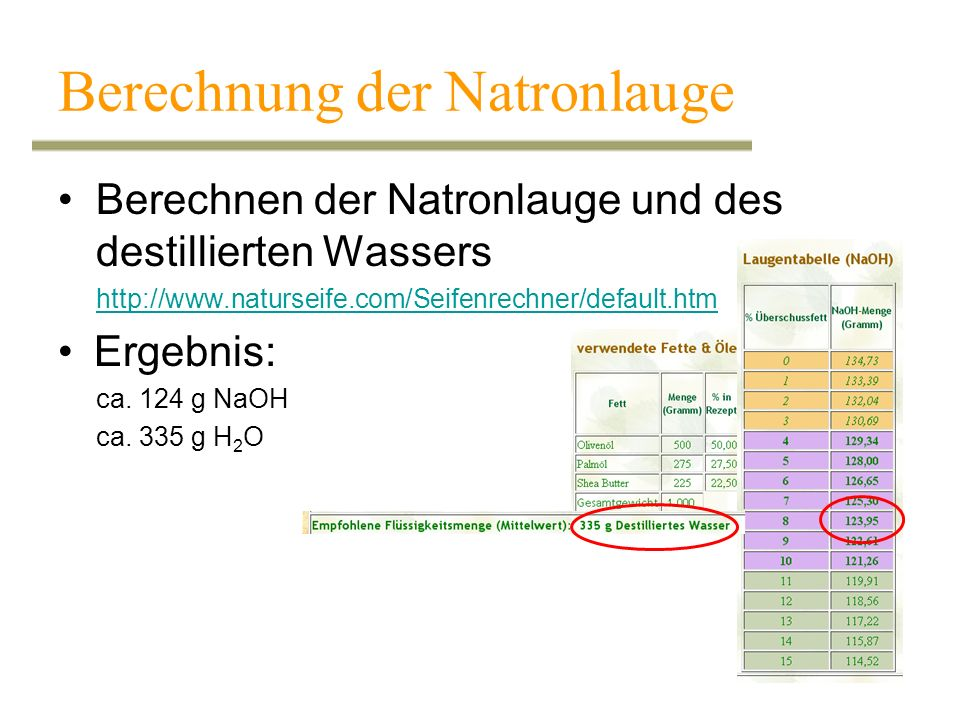 Berechnung der Natronlauge