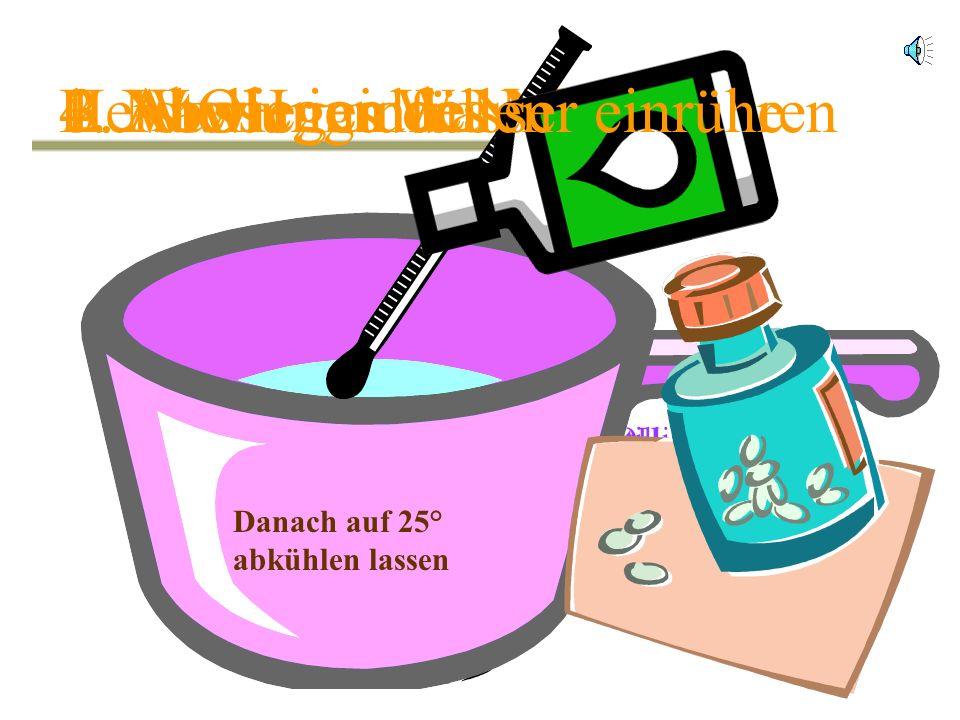 4. NaOH ins Wasser einrühren Herstellung der Natronlauge