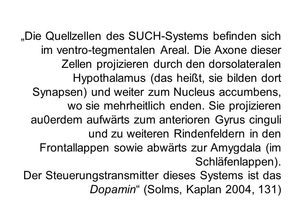 """""""Die Quellzellen des SUCH-Systems befinden sich im ventro-tegmentalen Areal."""