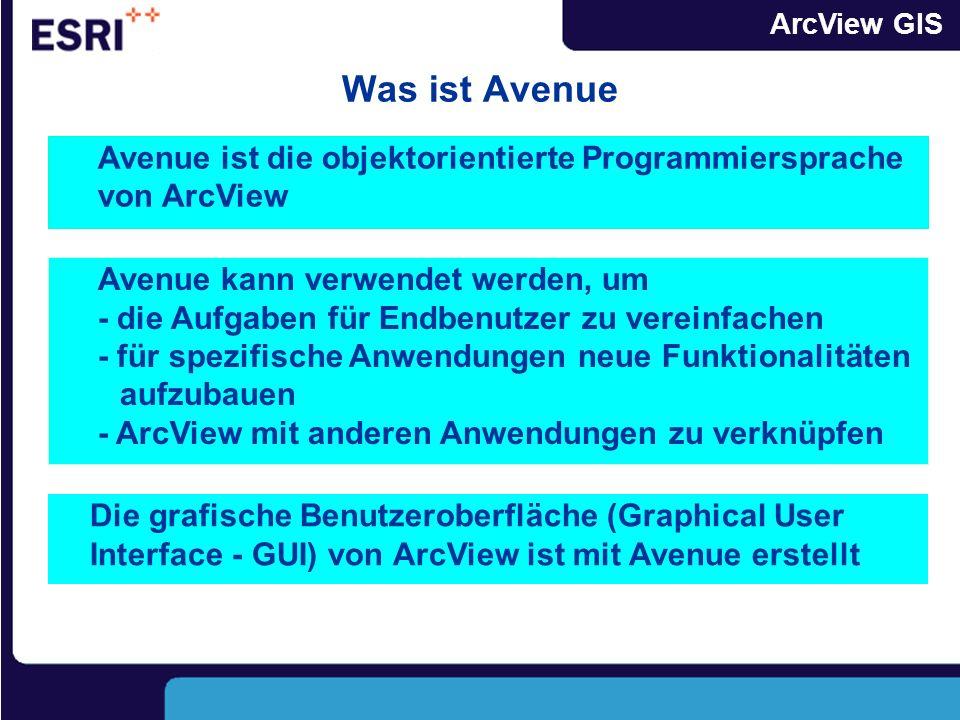 Was ist Avenue Avenue ist die objektorientierte Programmiersprache von ArcView.