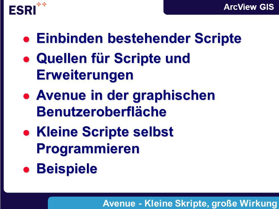 Einbinden bestehender Scripte Quellen für Scripte und Erweiterungen