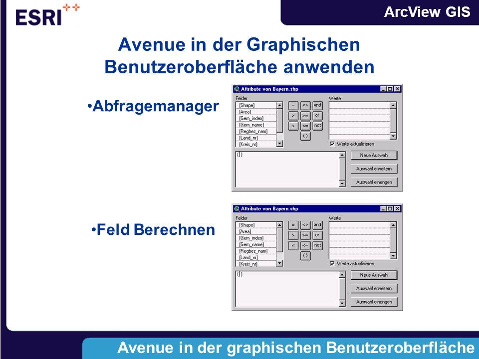 Avenue in der Graphischen Benutzeroberfläche anwenden