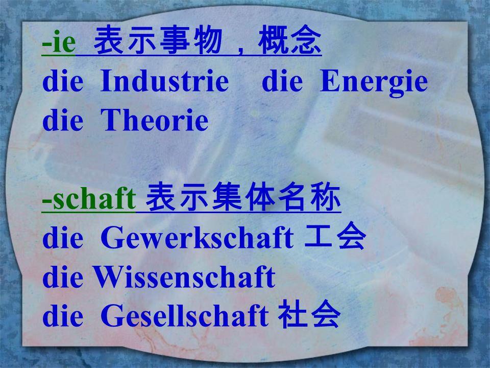 -ie 表示事物,概念 die Industrie die Energie. die Theorie. -schaft 表示集体名称. die Gewerkschaft 工会.