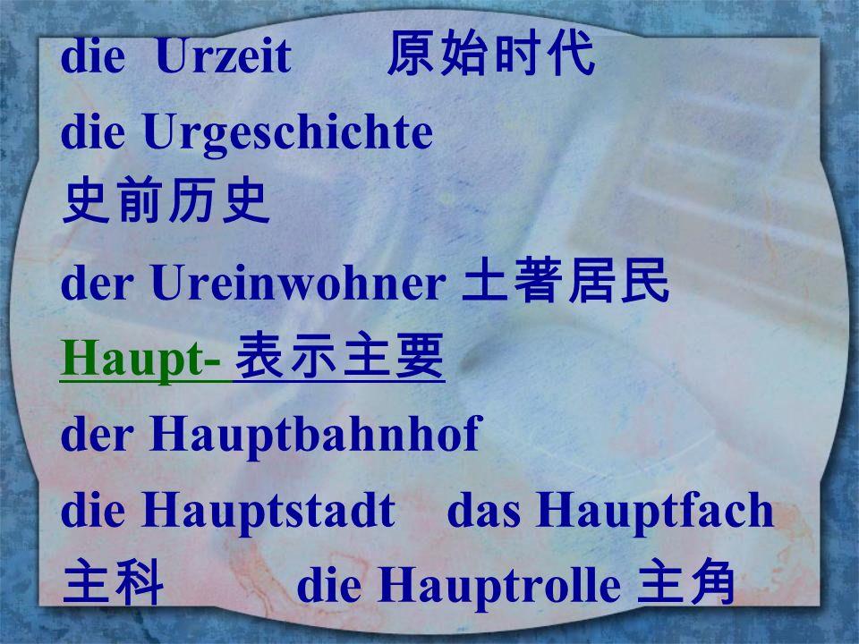 die Urzeit 原始时代 die Urgeschichte. 史前历史. der Ureinwohner 土著居民. Haupt- 表示主要. der Hauptbahnhof.