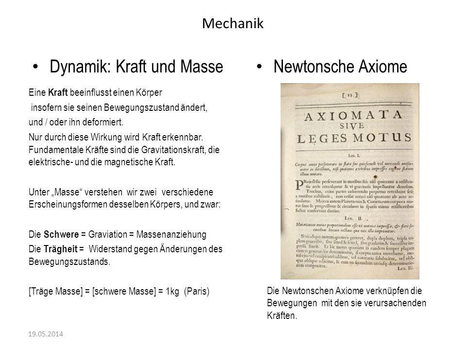 Dynamik: Kraft und Masse Newtonsche Axiome