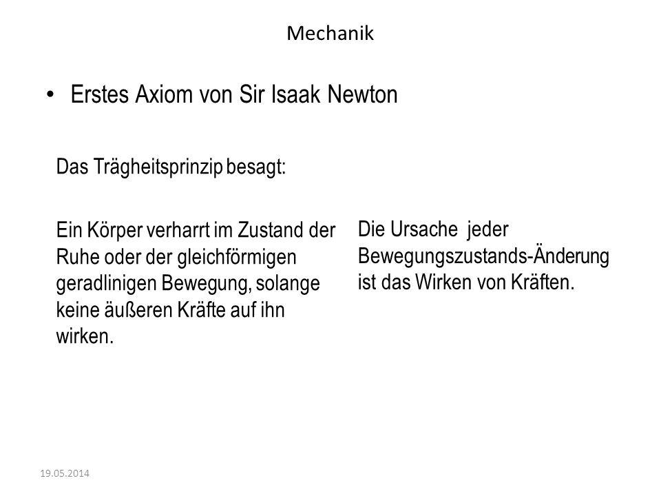 Erstes Axiom von Sir Isaak Newton