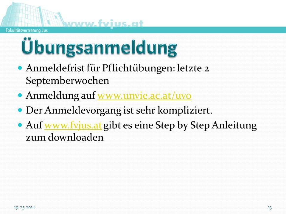 Übungsanmeldung Anmeldefrist für Pflichtübungen: letzte 2 Septemberwochen. Anmeldung auf www.unvie.ac.at/uvo.