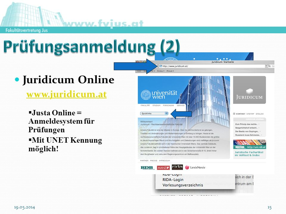 Prüfungsanmeldung (2) Juridicum Online www.juridicum.at