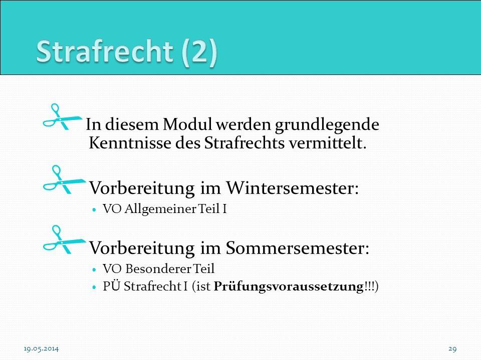 Strafrecht (2) Vorbereitung im Wintersemester: