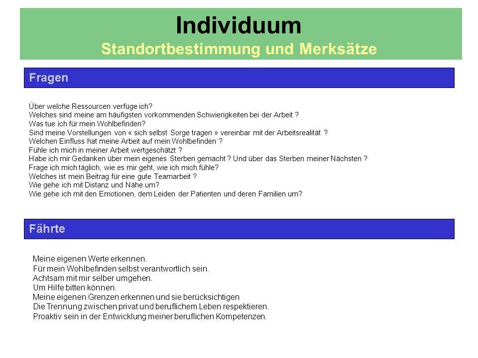 Individuum Standortbestimmung und Merksätze