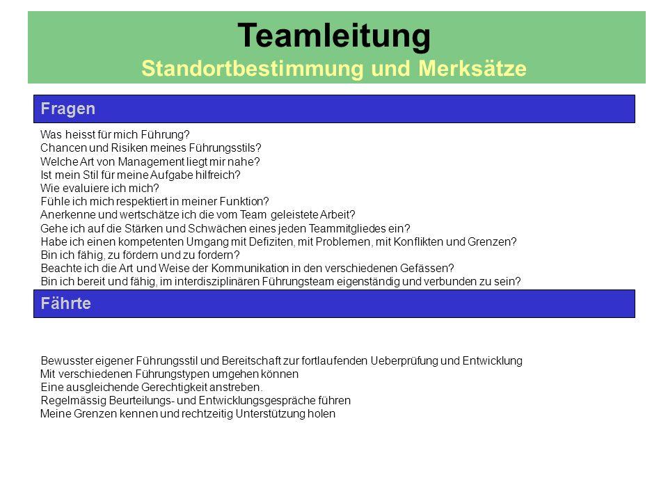 Teamleitung Standortbestimmung und Merksätze