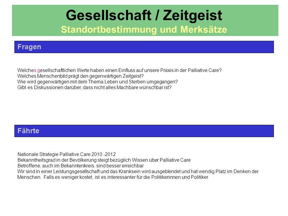 Gesellschaft / Zeitgeist Standortbestimmung und Merksätze