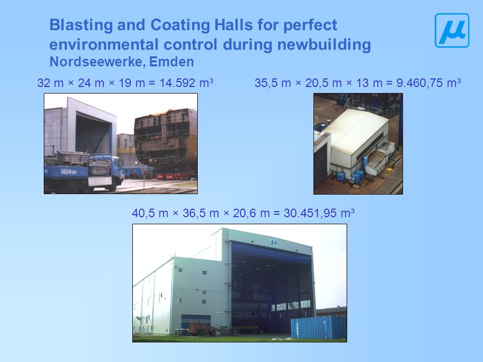 Blasting and Coating Halls for perfect environmental control during newbuilding Nordseewerke, Emden