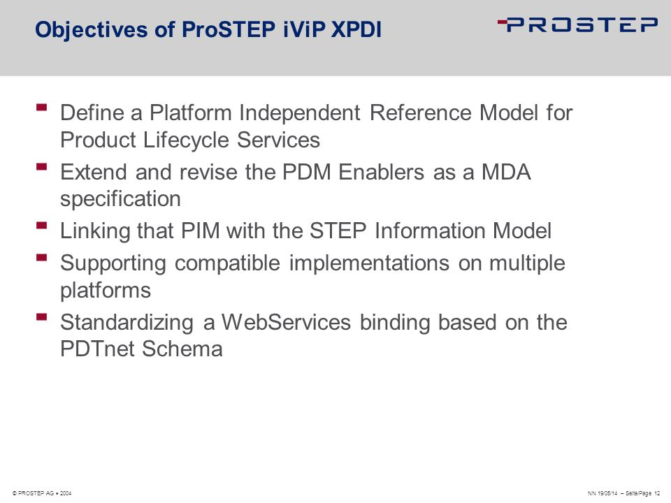 Objectives of ProSTEP iViP XPDI