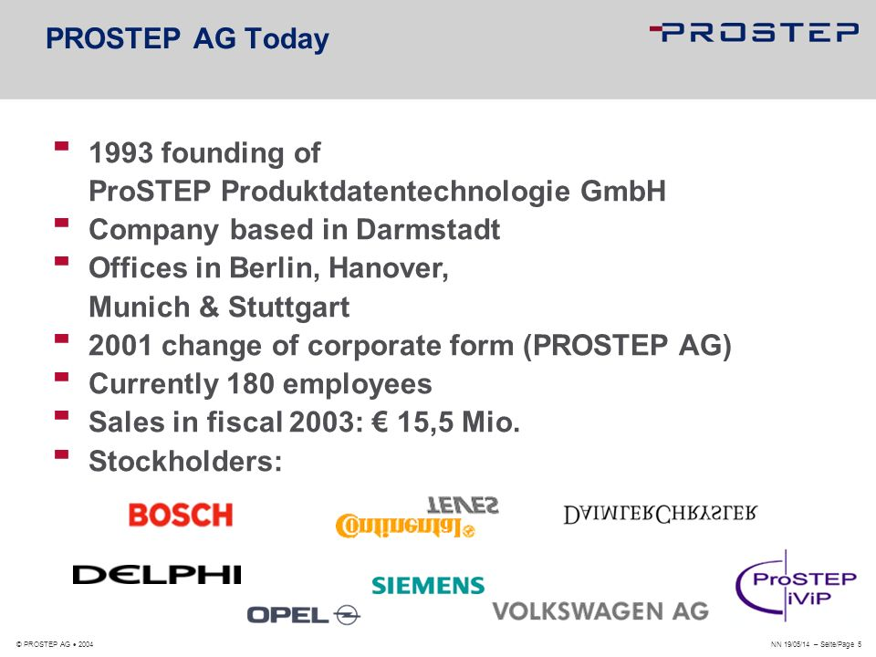 1993 founding of ProSTEP Produktdatentechnologie GmbH