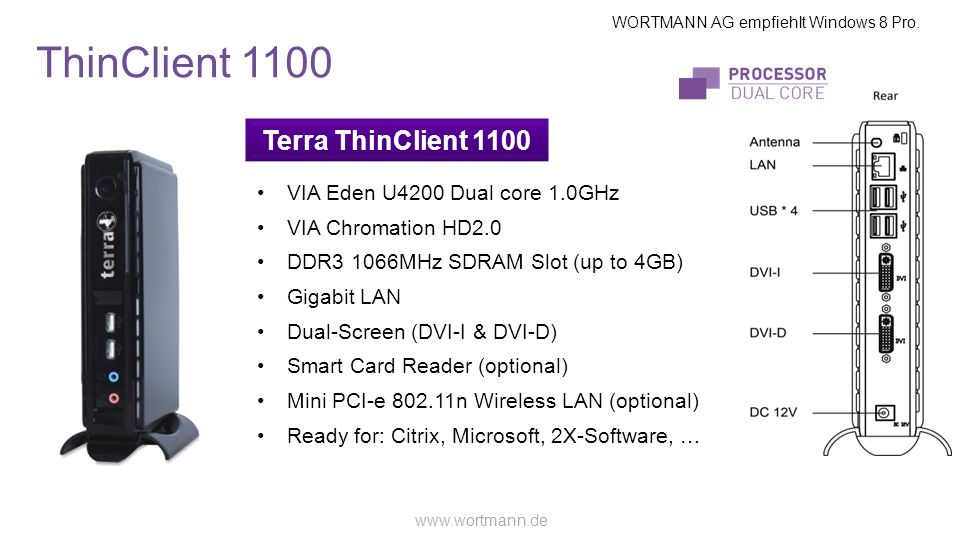ThinClient 1100 Terra ThinClient 1100 VIA Eden U4200 Dual core 1.0GHz