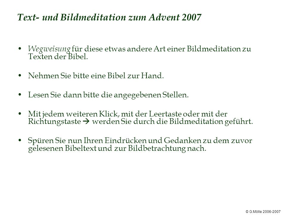 Text- und Bildmeditation zum Advent 2007