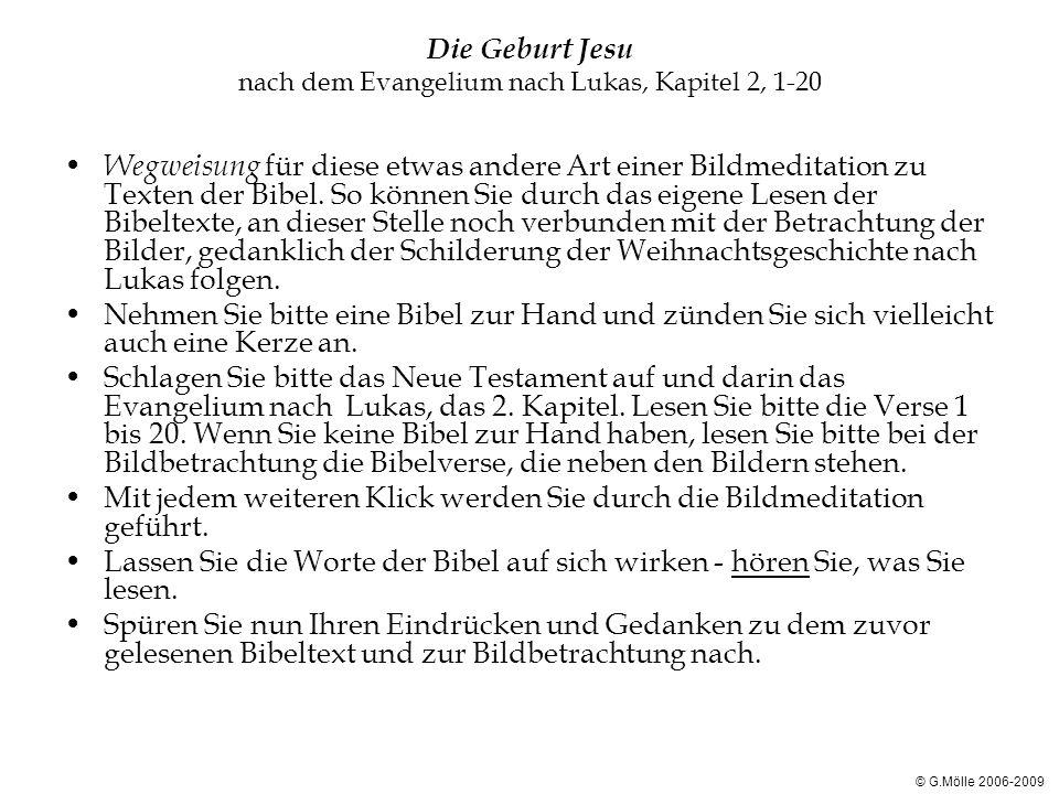 Die Geburt Jesu nach dem Evangelium nach Lukas, Kapitel 2, 1-20