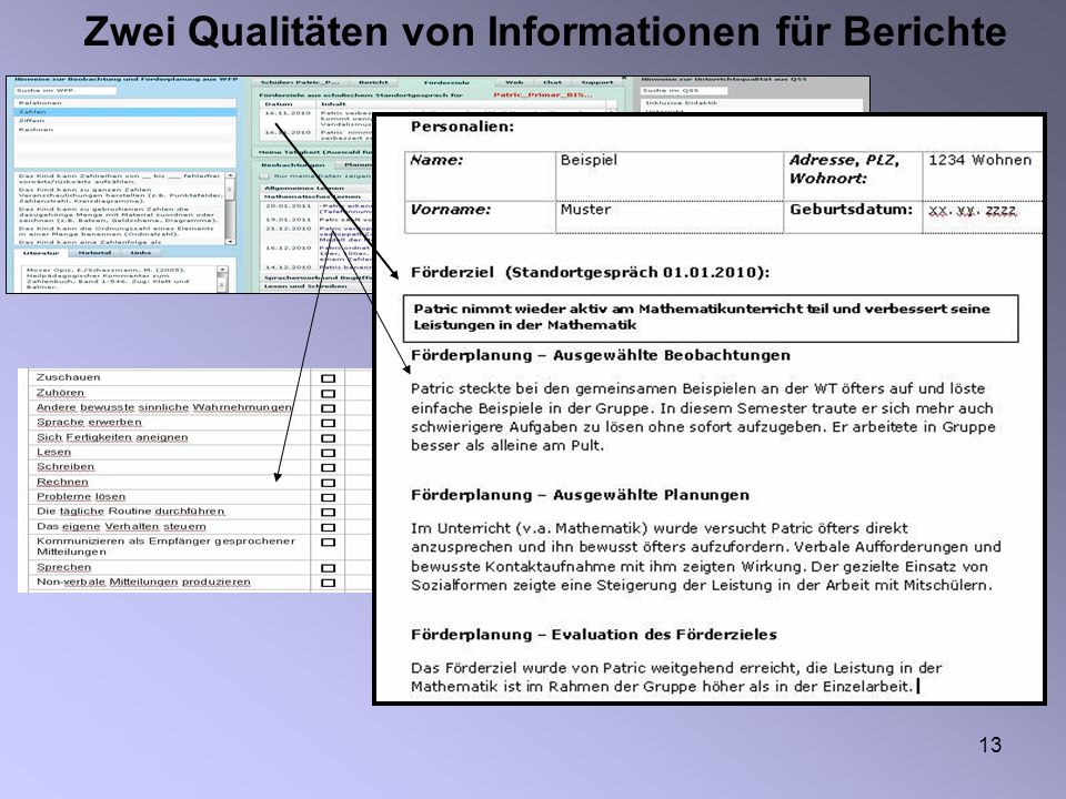 Zwei Qualitäten von Informationen für Berichte