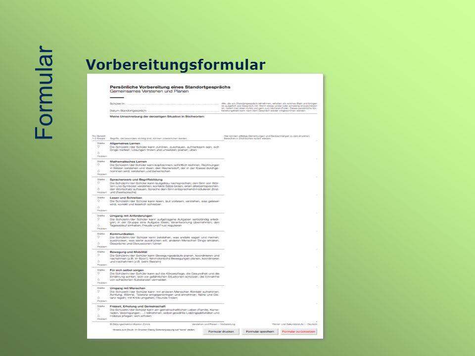 Formular Vorbereitungsformular