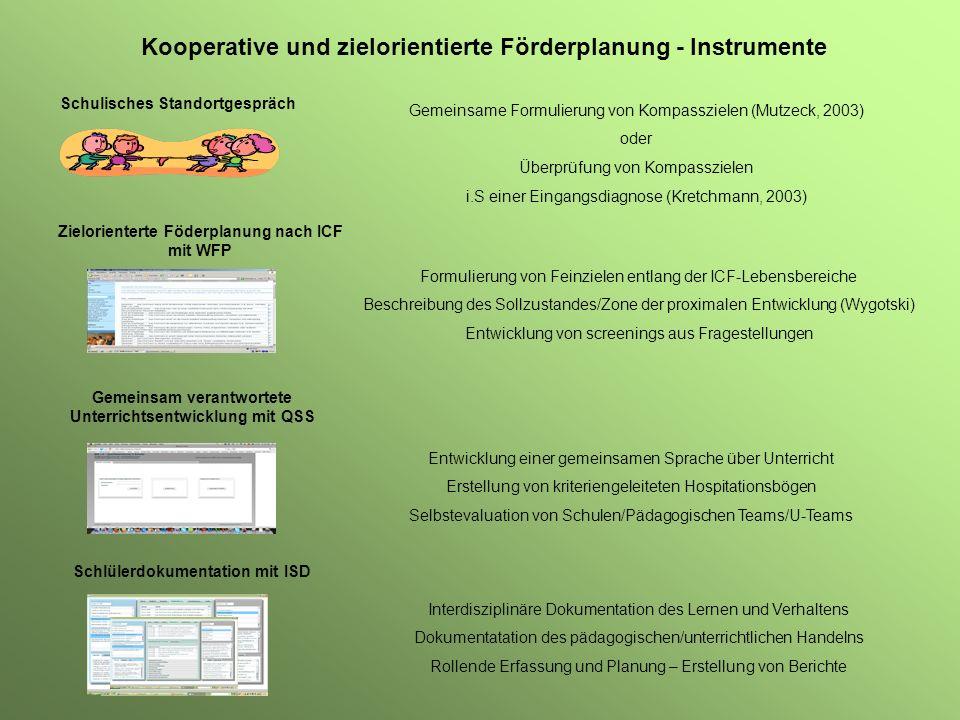 Kooperative und zielorientierte Förderplanung - Instrumente