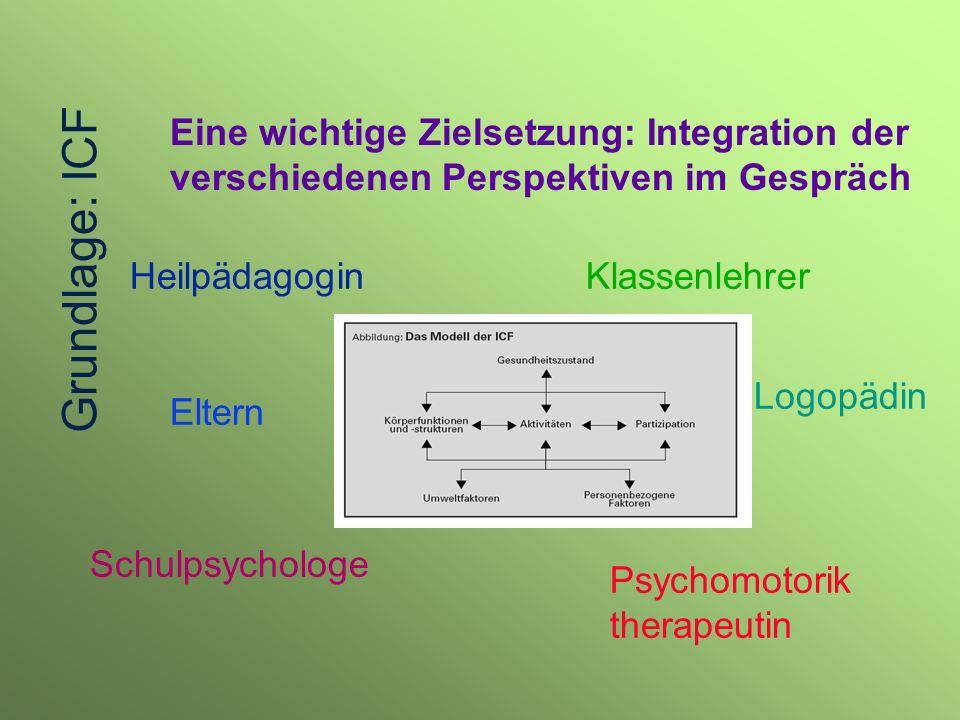 Grundlage: ICF Eine wichtige Zielsetzung: Integration der verschiedenen Perspektiven im Gespräch. Heilpädagogin.