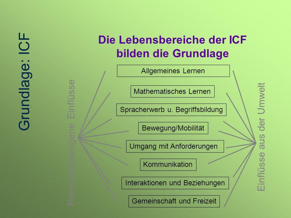 Die Lebensbereiche der ICF bilden die Grundlage