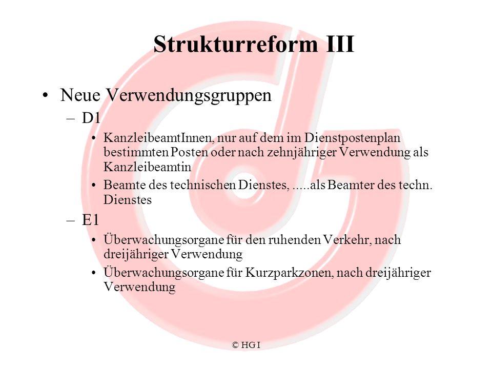 Strukturreform III Neue Verwendungsgruppen D1 E1