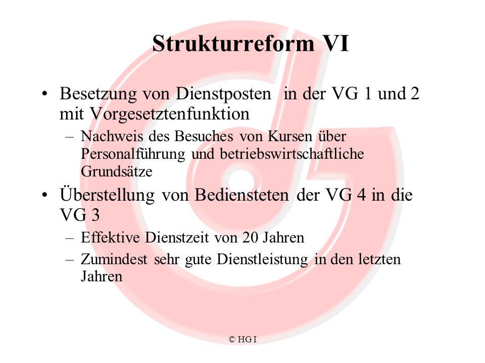 Strukturreform VI Besetzung von Dienstposten in der VG 1 und 2 mit Vorgesetztenfunktion.
