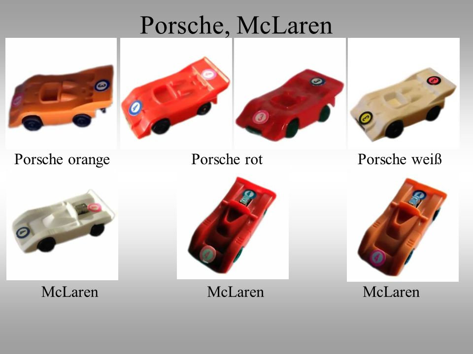Porsche, McLaren Porsche orange Porsche rot Porsche weiß McLaren