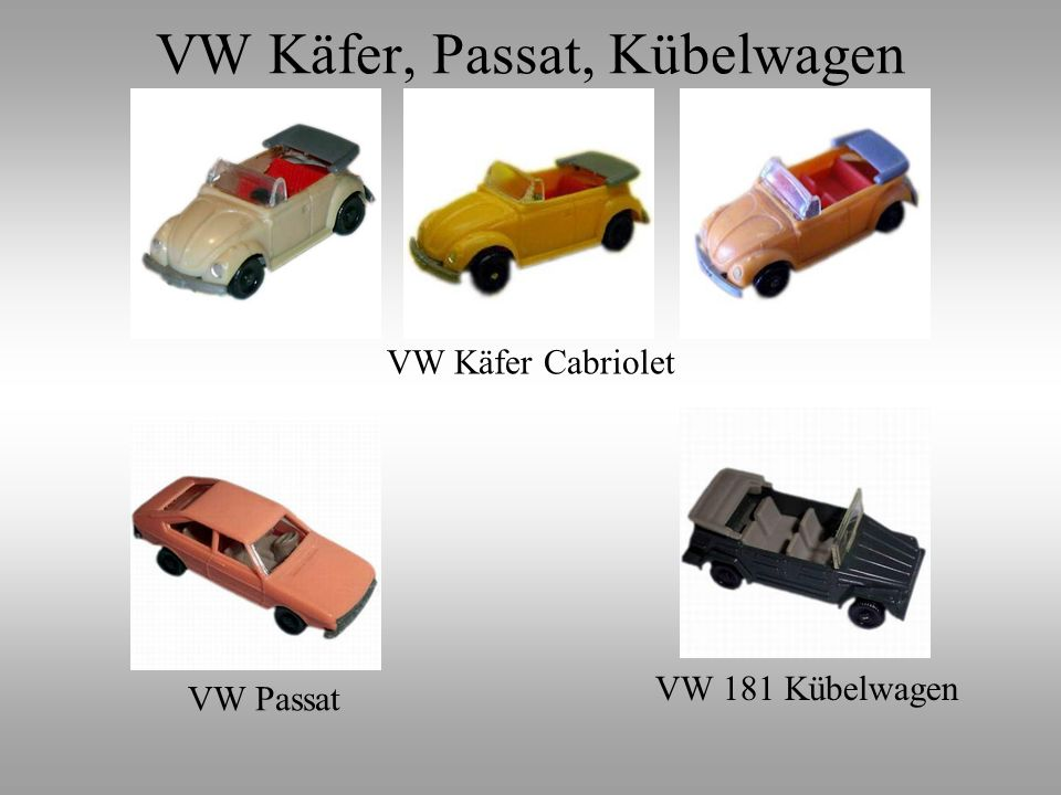 VW Käfer, Passat, Kübelwagen