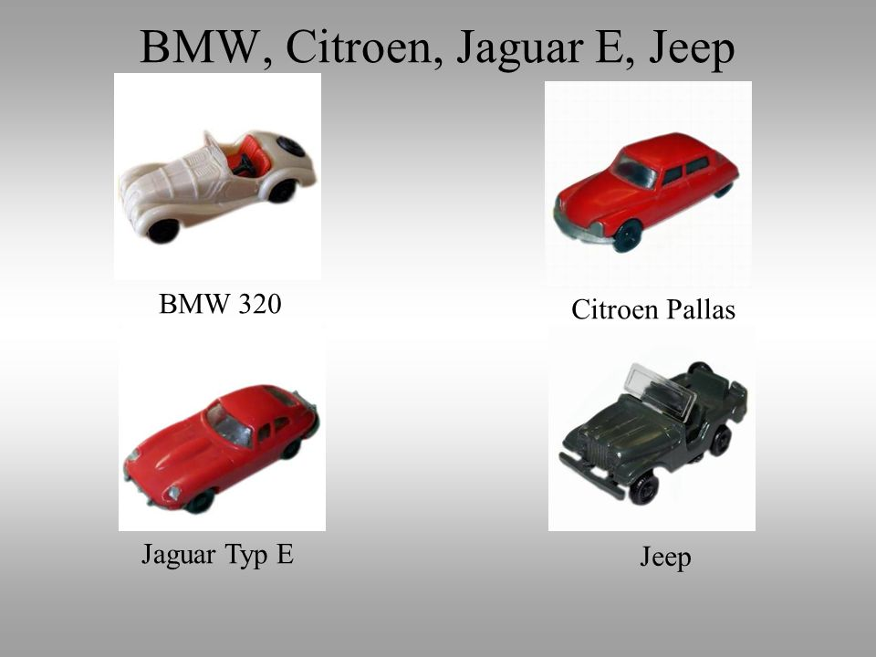 BMW, Citroen, Jaguar E, Jeep
