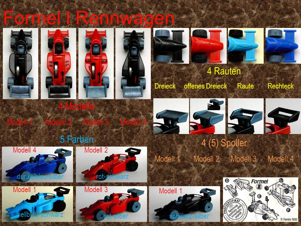 Formel I Rennwagen 4 Rauten 4 Modelle 5 Farben 4 (5) Spoiler