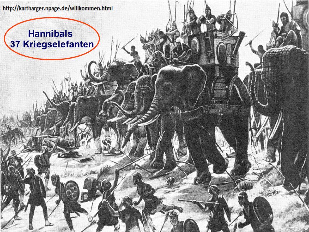 Hannibals 37 Kriegselefanten