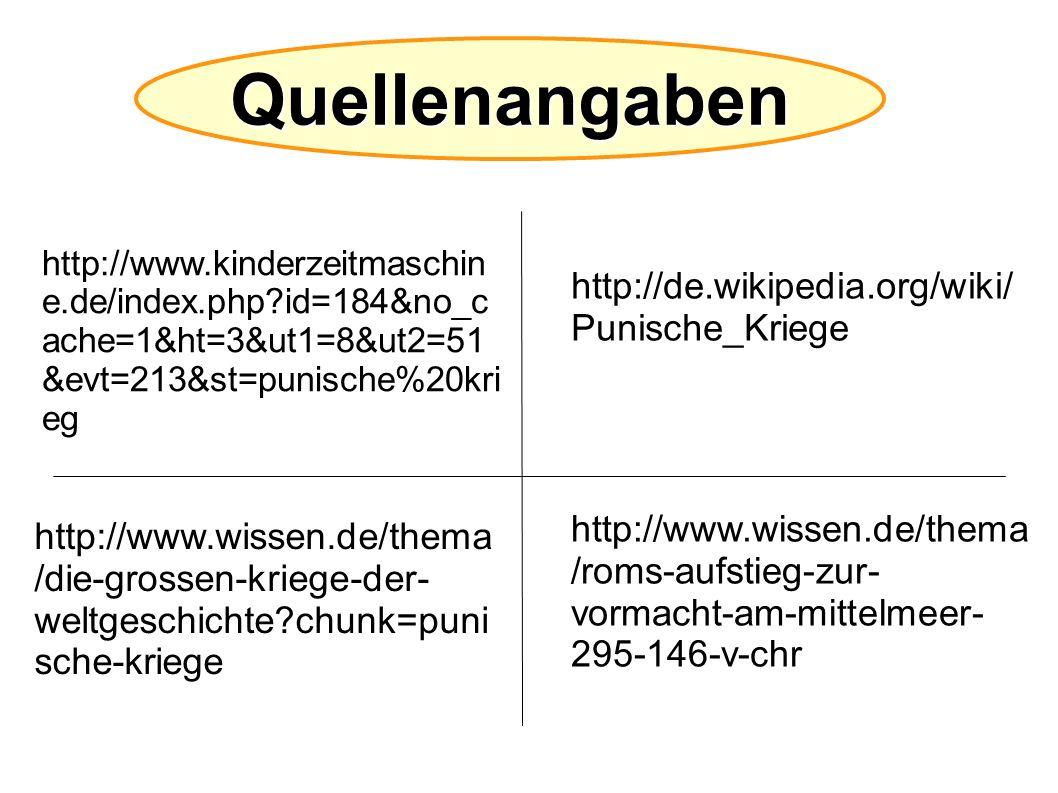 Quellenangaben http://de.wikipedia.org/wiki/ Punische_Kriege