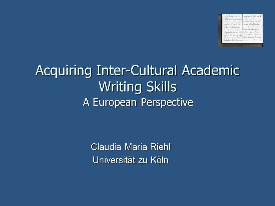 Acquiring Inter-Cultural Academic Writing Skills
