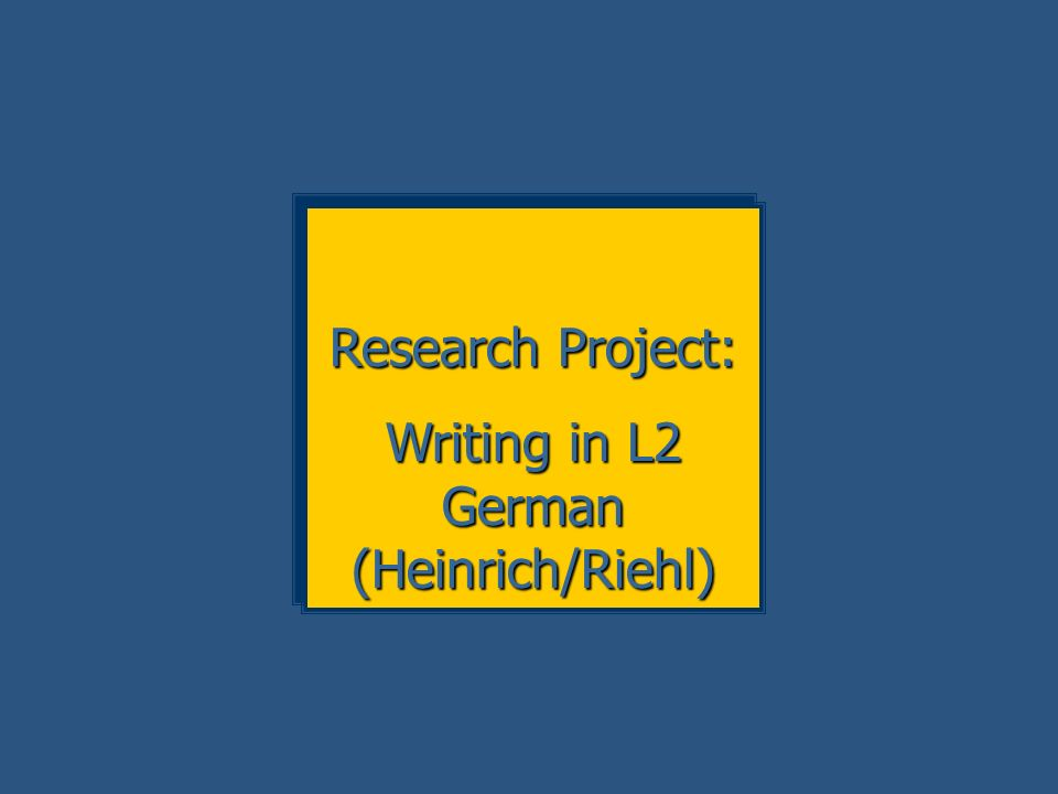 Writing in L2 German (Heinrich/Riehl)