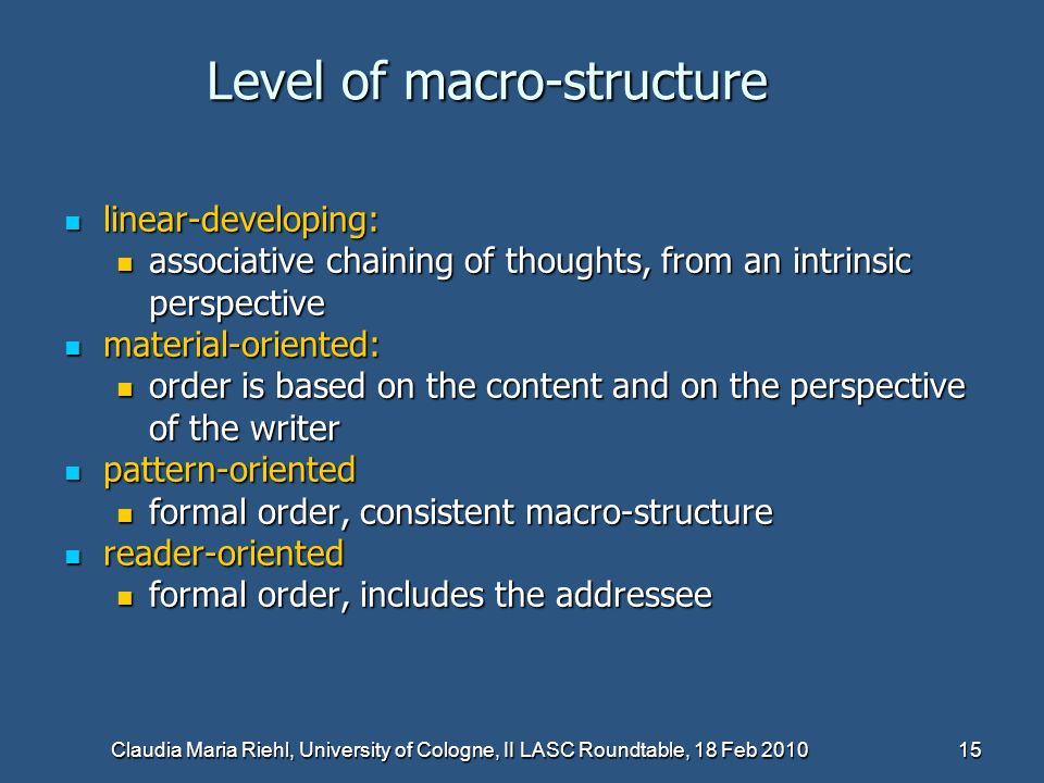 Level of macro-structure