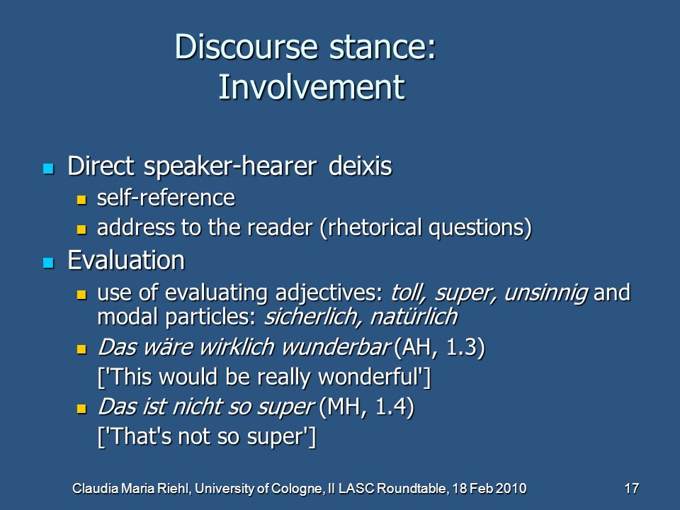 Discourse stance: Involvement
