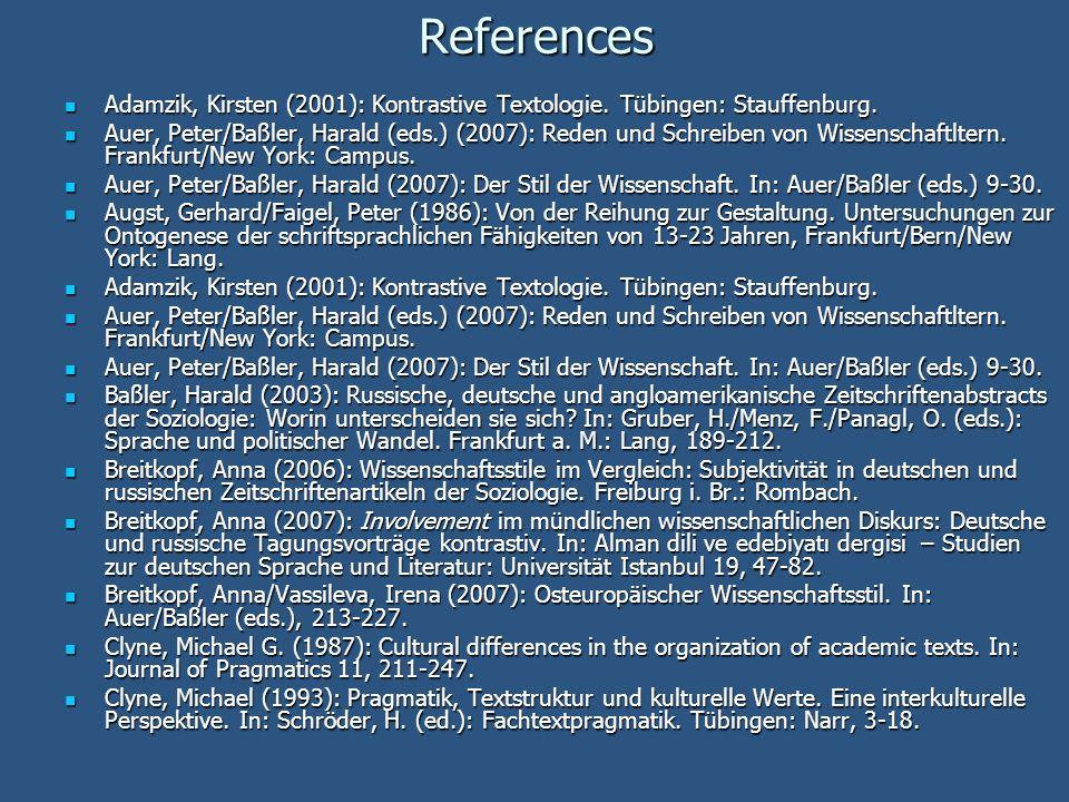 References Adamzik, Kirsten (2001): Kontrastive Textologie. Tübingen: Stauffenburg.
