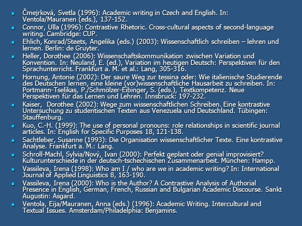 Čmejrková, Svetla (1996): Academic writing in Czech and English