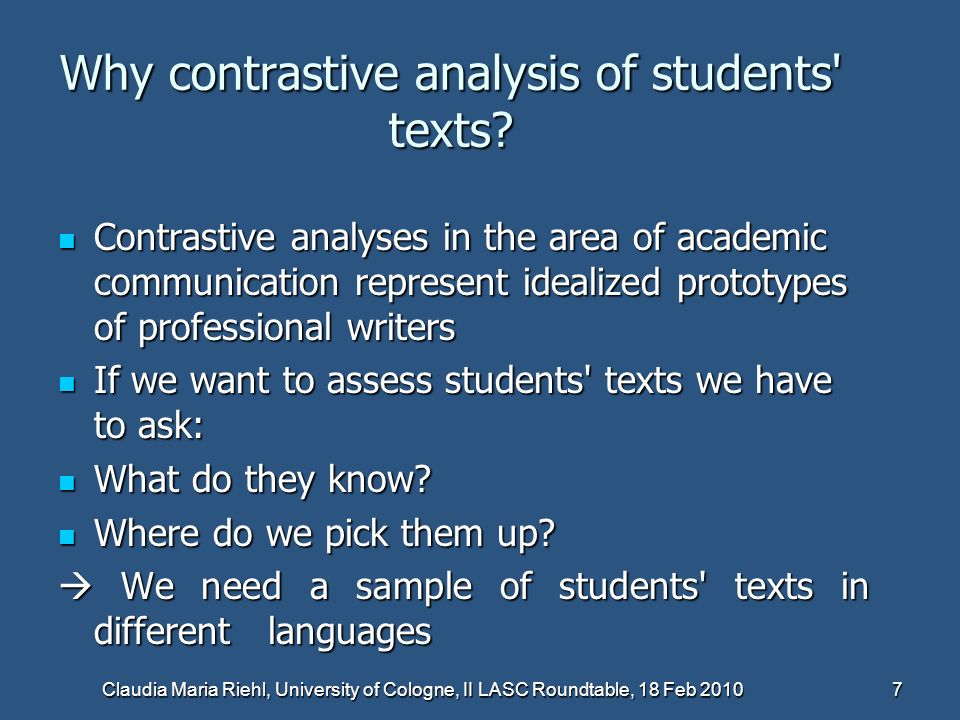 Why contrastive analysis of students texts