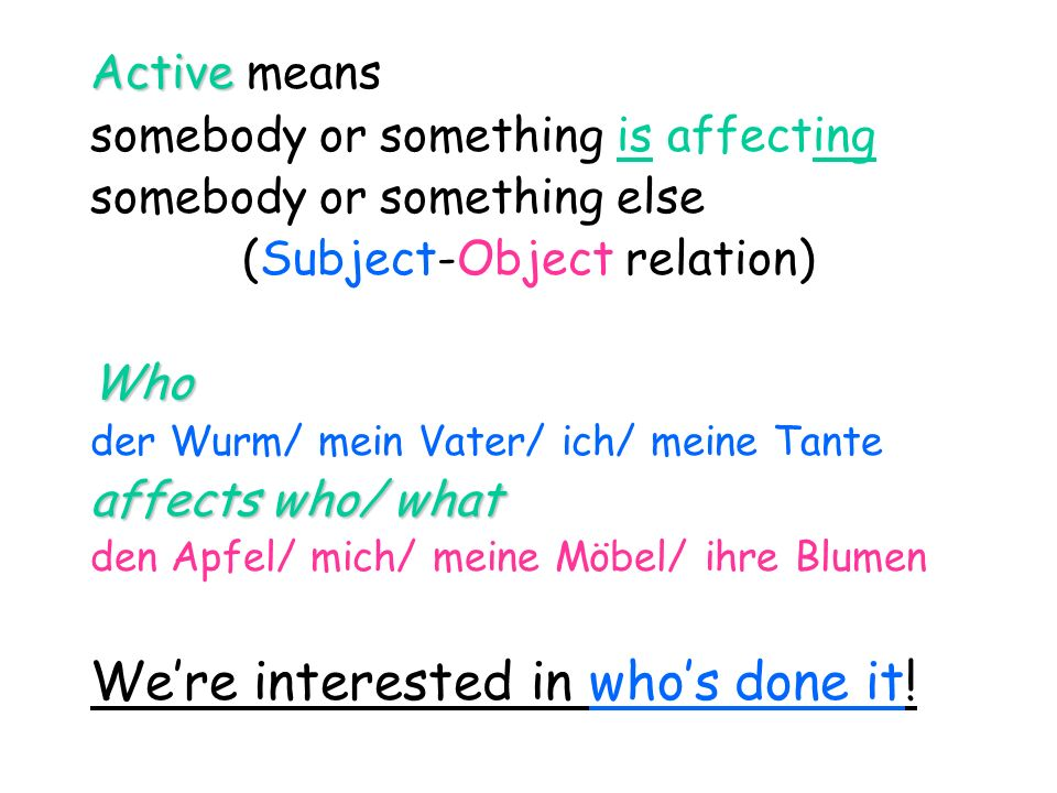 (Subject-Object relation)
