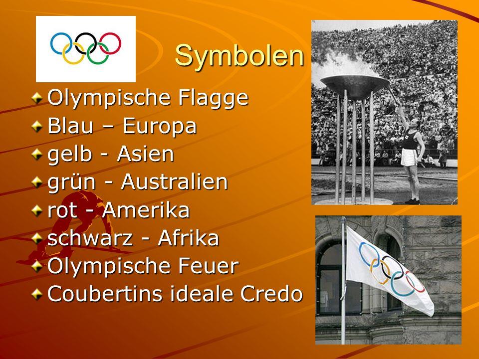 Symbolen Olympische Flagge Blau – Europa gelb - Asien