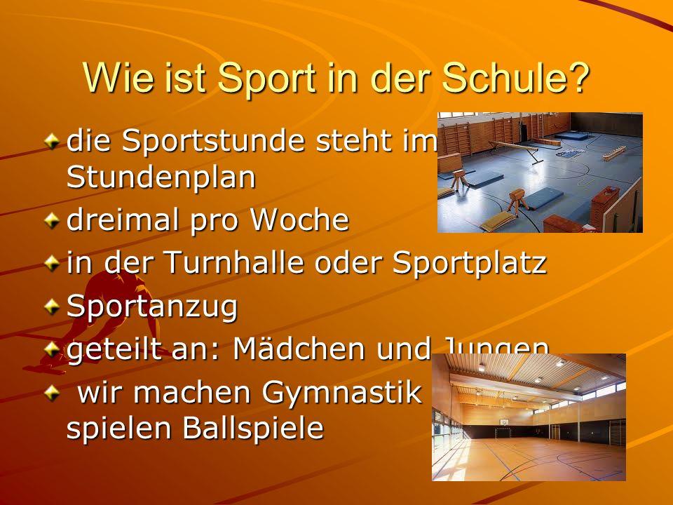 Wie ist Sport in der Schule