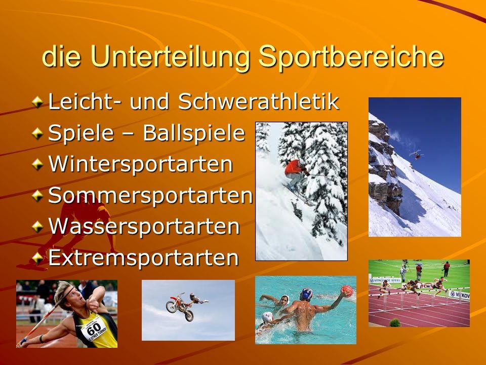die Unterteilung Sportbereiche