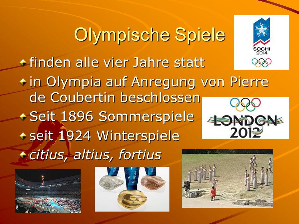 Olympische Spiele finden alle vier Jahre statt