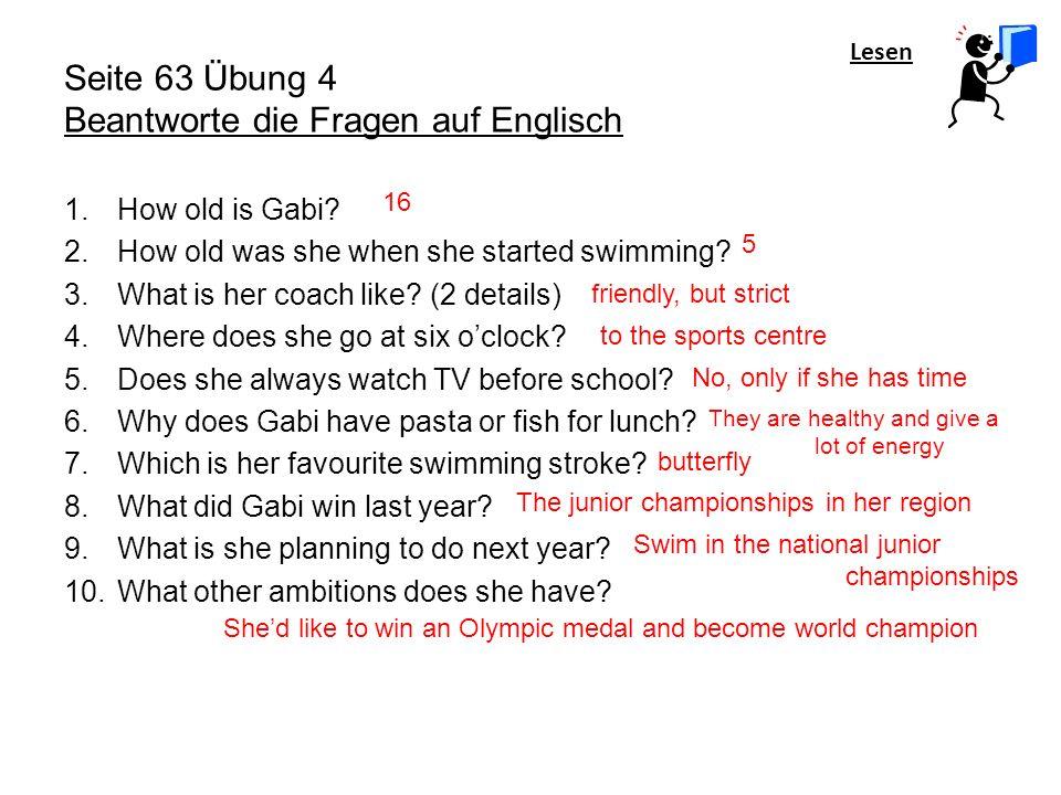 Seite 63 Übung 4 Beantworte die Fragen auf Englisch