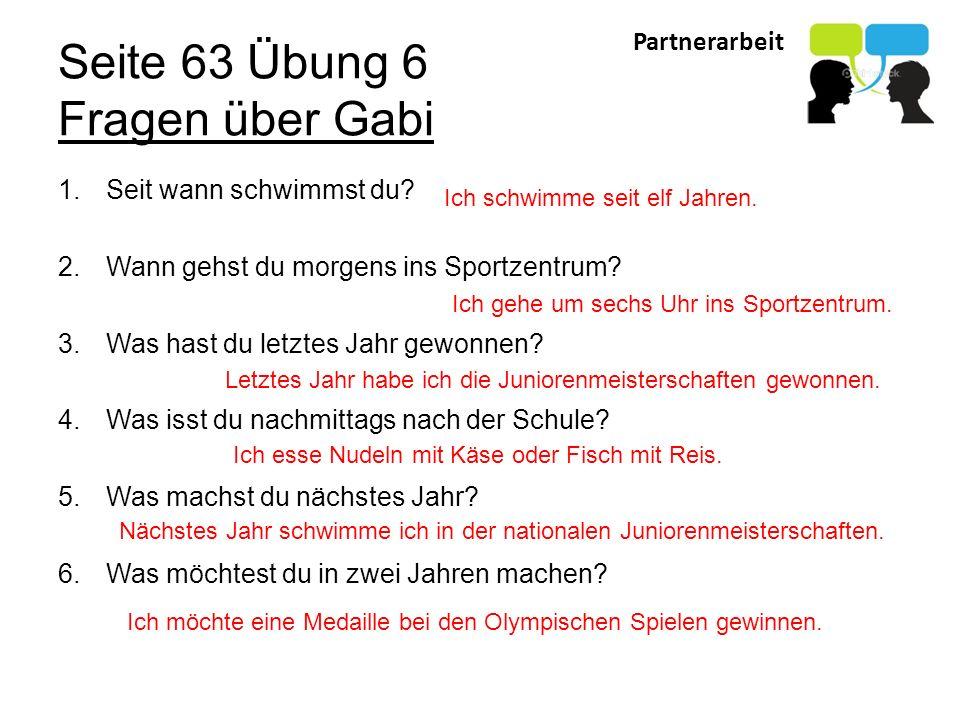 Seite 63 Übung 6 Fragen über Gabi
